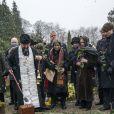 La veuve du prince Dimitri Romanovitch de Russie, la princesse Theodora (Dorrit Reventlow), et d'autres membres de la famille Romanov lors de l'inhumation du prince russe, défunt chef de la Maison Romanov, au cimetière Vedbaek à 20 km au nord de Copenhague, le 11 janvier 2017.