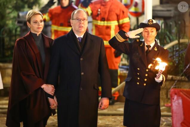 Le prince Albert II de Monaco et la princesse Charlene participaient le 26 janvier 2017 à la célébration de Sainte Dévote à Monaco. © Olivier Huitel/Pool restreint Monaco/Bestimage