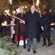 Le prince Albert II de Monaco et la princesse Charlene ont participé à la célébration de Sainte Dévote à Monaco le 26 janvier 2017 en embrasant la barque symbolisant l'arrivée de la martyre sur le Rocher. © Jean-Charles Vinaj/Pool restreint Monaco/Bestimage