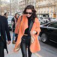 """Exclusif - Bella Hadid est de retour à l'hôtel George V à Paris, après être aller voir l'exposition """"Henri Matisse"""" à la Fondation Louis Vuitton. Le 27 janvier 2017"""