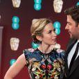 Emily Blunt et son mari John Krasinski - Arrivée des people à la cérémonie des British Academy Film Awards (BAFTA) au Royal Albert Hall à Londres, le 12 février 2017.