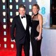 Hugh Grant et Anna Elisabet Eberstein à la cérémonie des British Academy Film Awards (BAFTA) au Royal Albert Hall à Londres, le 12 février 2017.