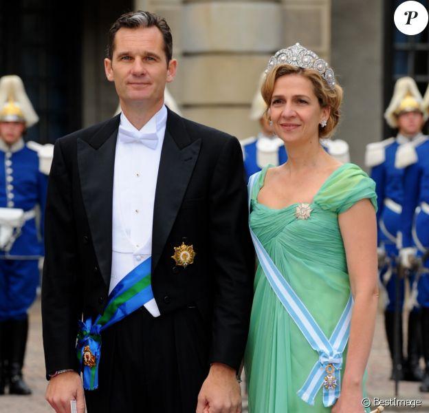 Iñaki Urdangarin et l'infante Cristina d'Espagne au mariage de la princesse Victoria de Suède le 19 juin 2010.