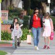 Jennifer Garner avec ses enfants Violet, Seraphina et Samuel à Los Angeles le 14 février 2017