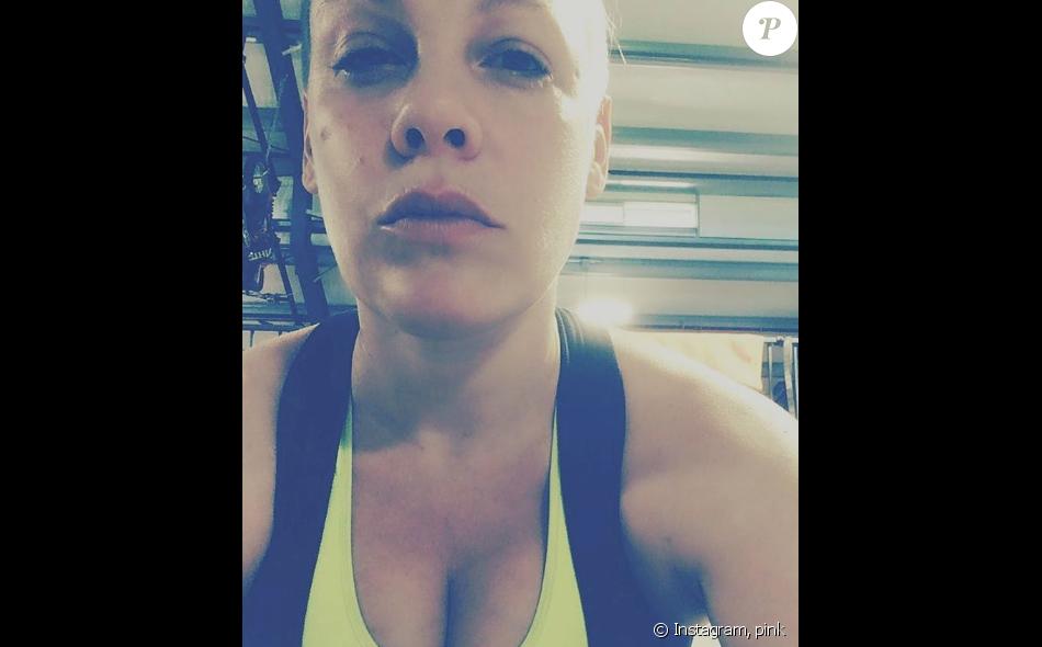 Pink s'est remise au sport pour perdre les kilos accumulés pendant sa grossesse - Photo publiée sur Instagram le 22 février 2017