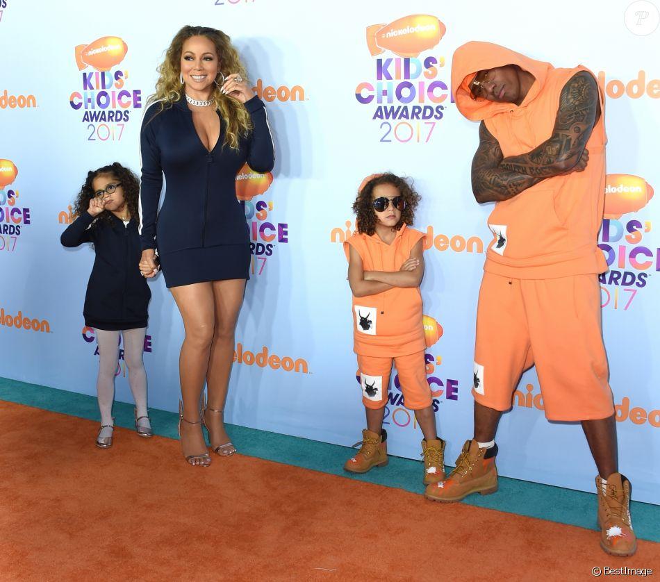 Mariah Carey, Nick Cannon et leurs enfants Morrocan et Monroe - Nickelodeon's 2017 Kids' Choice Awards à l'USC Galen Center à Los Angeles le 11 mars 2017.
