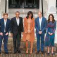Le prince William, la duchesse Catherine de Cambridge et le prince Harry recevaient à dîner au palais de Kensington le 22 avril 2016 Barack et Michelle Obama.