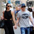 Exclusif - Kimi Räikkönen et sa femme Minttu Virtanen lors de l'achat de sa robe de mariée chez Armani à Milan le 27 juillet 2016, à quelques jours de leur mariage en Toscane.