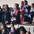 Vadim Vasilyev, le vice-président de l'AS Monaco, Dmitri Rybolovlev, le président de l'AS Monaco, le prince Albert II de Monaco et Michael Wittstock, père de la princesse Charlene, lors du match retour de huitième de finale de Ligue des Champions entre l'AS Monaco et Manchester City au stade Louis II à Monaco le 15 mars 2017. Le club de la principauté, défait à l'aller 5 à 3, s'est qualifié pour les quarts de finale en battant les Anglais 3 buts à 1. © Bruno Bebert/Bestimage