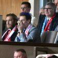Pierre Casiraghi et Louis Ducruet ont eu droit à un spectacle parfait lors du match retour de huitième de finale de Ligue des Champions entre l'AS Monaco et Manchester City au stade Louis II à Monaco le 15 mars 2017. Le club de la principauté, défait à l'aller 5 à 3, s'est qualifié pour les quarts de finale en battant les Anglais 3 buts à 1. © Bruno Bebert/Bestimage