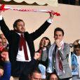 Pierre Casiraghi a exulté lors du match retour de huitième de finale de Ligue des Champions entre l'AS Monaco et Manchester City au stade Louis II à Monaco le 15 mars 2017. Le club de la principauté, défait à l'aller 5 à 3, s'est qualifié pour les quarts de finale en battant les Anglais 3 buts à 1. © Bruno Bebert/Bestimage