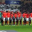 L'ASM lors du match retour de huitième de finale de Ligue des Champions entre l'AS Monaco et Manchester City au stade Louis II à Monaco le 15 mars 2017. Le club de la principauté, défait à l'aller 5 à 3, s'est qualifié pour les quarts de finale en battant les Anglais 3 buts à 1. © Bruno Bebert/Bestimage