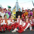 Stéphanie de Monaco aux répétitions du festival International du Cirque de Monte-Carlo, entourée d'acrobates russes