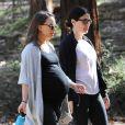 Natalie Portman, enceinte se promène avec une amie à Los Feliz le 31 janvier 2017.