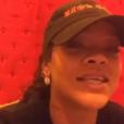 """Rihanna dans une vidéo publiée en live sur son compte Instagram lundi 20 mars 2017 pour commenter la diffusion du dernier épisode de la série """"Bates Motel"""" dans lequel elle joue le rôle de Marion Crane."""