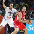 Rudy Gobert - La France s'incline face à la Serbie en demi-finale du Mondial de Basket à Madrid (85-90), le 12 septembre 2014.