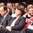 Francois Hollande, Martine Aubry, Manuel Valls, Julie Gayet - Convention d'investiture de Francois Hollande a la tete du PS pour l'election presidentielle de 2012 a la Halle Freyssinet a Paris, le 22 octobre 2011.