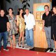 """Mike Meldman et sa femme, George Clooney et sa femme Amal Alamuddin Clooney, Cindy Crawford et son mari Rande Gerber - Soirée de lancement de la marque de téquila """"Casamigos"""" à l'hôtel Ushuaïa Ibiza Beach à Ibiza, le 23 août 2015."""