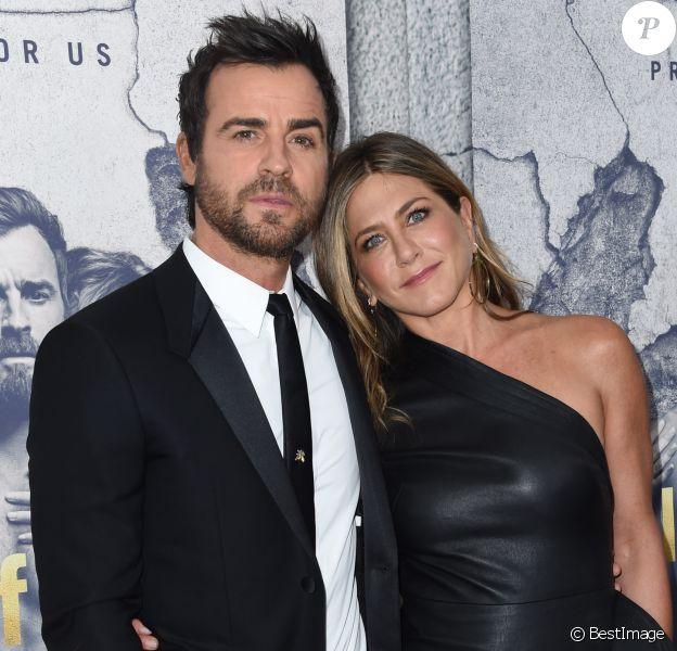 Justin Theroux et sa femme Jennifer Aniston à la première de la saison 3 de ''The Leftovers au Avalon Hollywood à Hollywood, le 4 avril 2017