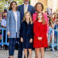 Le roi Felipe VI d'Espagne et son épouse la reine Letizia, leurs filles Leonor et Sofia et la reine Sofia ont assisté à la messe de Pâques en la cathédrale de Palma de Majorque, le 16 avril 2017