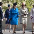 Autumn Phillips avec la princesse Eugenie et la princesse Beatrice d'York à la messe de Pâques à la chapelle Saint-Georges de Windsor, le 16 avril 2017