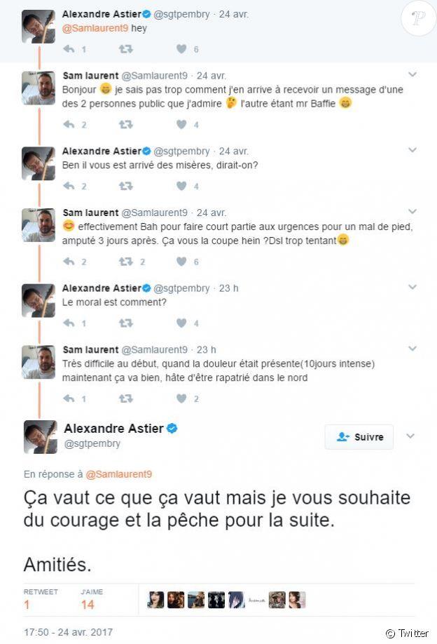 Echange de messages entre Alexandre Astier et un internaute. Avril 2017