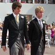 Le prince Ernst August fils et le prince Christian de Hanovre lors du mariage du prince Albert II de Monaco et de Charlene Wittstock à Monaco en juillet 2011.