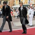 Prince Ernst August VI (L) and Prince Christian Heinrich of Hanover, sons of German Prince Ernst August of Hanover, arrive for the religious wedding of Prince Albert II and Princess Charlene in the Prince's Palace in Monaco, 02 July 2011. Some 3500 guests are expected to follow the ceremony in the Main Courtyard of the Palace. Photo by Frank May/DPA/ABACAPRESS.COM02/07/2011 - Monaco