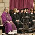 Andrea, Charlotte et Pierre Casiraghi ainsi que les princes Ernst August et Christian de Hanovre lors des funérailles du prince Rainier le 15 avril 2015.
