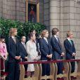 Pierre, Charlotte et Andrea Casiraghi, le prince Ernst August et le prince Christian de Hanovre en juillet 2005 lors des cérémonies pour l'avènement du prince Albert II de Monaco.