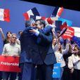 """Emmanuel Macron et François Bayrou - Emmanuel Macron, candidat à l'élection présidentielle pour son mouvement """"En Marche! en meeting au zénith de Pau, France, le 12 avril 2017. © Dominique Jacovides/Bestimage"""