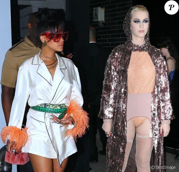 Rihanna et Katy Perry animaient deux after parties différentes à l'issue du Met Gala 2017. New York, le 1er mai 2017.