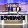 """Débat de l'entre-deux-tours entre Marine Le Pen (candidate du parti ''Front National"""" et Emmanuel Macron (candidat du mouvement ''En marche !''). Saint-Denis, le 3 mai 2017. © Chamussy/Pool/Bestimage"""