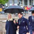La princesse Mette-Marit et le prince Haakon de Norvège, rasé de frais, le 10 mai 2017 lors du second jour de célébrations du double 80e anniversaire du roi Harald V et de la reine Sonja de Norvège.