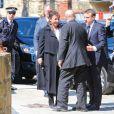Le président élu Emmanuel Macron et Jean-Yves Le Drian - Obsèques de Corinne Erhel députée socialiste et conseillère régionale en l'église Saint-Jean-du-Baly à Lannion, le 10 mai 2017. Corinne Erhel est décédée le 5 mai lors d'un meeting du mouvement En Marche!.