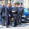 Le président élu Emmanuel Macron, Jean-Yves Le Drian, Richard Ferrand et Jean-Paul Delevoye - Obsèques de Corinne Erhel députée socialiste et conseillère régionale en l'église Saint-Jean-du-Baly à Lannion, le 10 mai 2017. Corinne Erhel est décédée le 5 mai lors d'un meeting du mouvement En Marche!. nnion