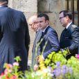 Le président élu Emmanuel Macron, Jean-Yves Le Drian et Richard Ferrand - Obsèques de Corinne Erhel députée socialiste et conseillère régionale en l'église Saint-Jean-du-Baly à Lannion, le 10 mai 2017. Corinne Erhel est décédée le 5 mai lors d'un meeting du mouvement En Marche!.n