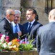 Le président élu Emmanuel Macron, Jean-Yves Le Drian et Claude Bartolone - Obsèques de Corinne Erhel députée socialiste et conseillère régionale en l'église Saint-Jean-du-Baly à Lannion, le 10 mai 2017. Corinne Erhel est décédée le 5 mai lors d'un meeting du mouvement En Marche!.