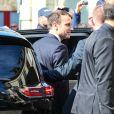 Le président élu Emmanuel Macron - Obsèques de Corinne Erhel députée socialiste et conseillère régionale en l'église Saint-Jean-du-Baly à Lannion, le 10 mai 2017. Corinne Erhel est décédée le 5 mai lors d'un meeting du mouvement En Marche!.
