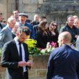 Membres de la famille - Obsèques de Corinne Erhel députée socialiste et conseillère régionale en l'église Saint-Jean-du-Baly à Lannion, le 10 mai 2017. Corinne Erhel est décédée le 5 mai lors d'un meeting du mouvement En Marche!.