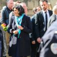Myriam El Khomri et Maria Vadillo (femme de Jean-Yves Le Drian) - Obsèques de Corinne Erhel députée socialiste et conseillère régionale en l'église Saint-Jean-du-Baly à Lannion, le 10 mai 2017. Corinne Erhel est décédée le 5 mai lors d'un meeting du mouvement En Marche!.