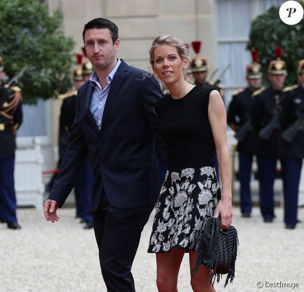 Tiphaine Auzière et son compagnon Antoine - La famille de E.Macron arrive au palais de l'Elysée à Paris le 14 mai 2017 pour la cérémonie d'investiture du nouveau président. © Cyril Moreau / Bestimage