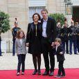 Sébastien Auzière, sa femme Christelle Auzière et leurs enfants Camille et Paul - La famille de E.Macron arrive au palais de l'Elysée à Paris le 14 mai 2017 pour la cérémonie d'investiture du nouveau président. © Cyril Moreau / Bestimage