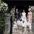 Pippa Middleton, son mari James Matthews, Catherine (Kate) Middleton, duchesse de Cambridge, le prince George de Cambridge et la princesse Charlotte de Cambridge - Mariage de Pippa Middleton et James Matthews, en l'église St Mark's Englefield, Berkshire, Royaume Uni, le 20 mai 2017.