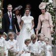 Pippa Middleton, son mari James Matthews et Catherine (Kate) Middleton, duchesse de Cambridge - Mariage de Pippa Middleton et James Matthews, en l'église St Mark's Englefield, Berkshire, Royaume Uni, le 20 mai 2017.