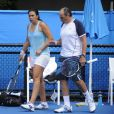 Marion Bartoli accompagnée de son père Walter à Melbourne le 12 janvier 2013 avant l'Open d'Australie