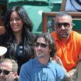 Amel Bent, Patrick Antonelli et Sofia Essaïdi - People aux Internationaux de France de tennis de Roland Garros à Paris, le 5 juin 2014.