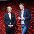 """Lorànt Deutsch et Pierre Palmade - Enregistrement de l'émission """"On se refait Palmade"""" au Théâtre de Paris, qui sera diffusée le 16 juin sur France 3, le 22 mai 2017."""