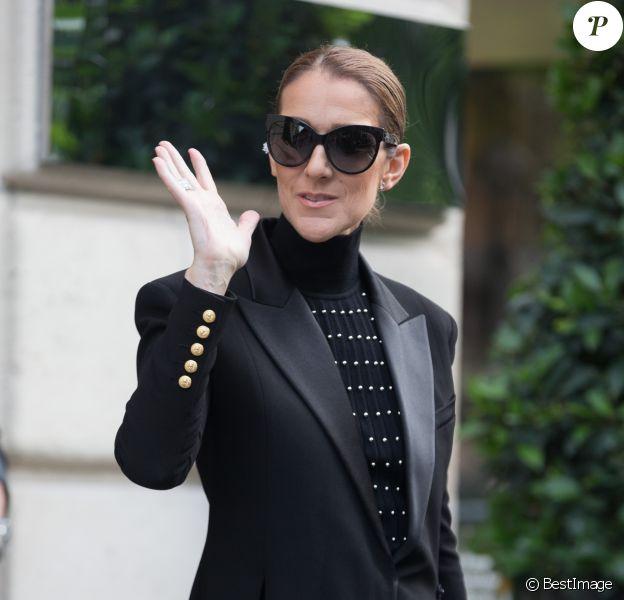 Semi Exclusif - Céline Dion quitte l'hôtel Royal Monceau pour se rendre à l'Opéra Garnier à Paris, le 13 juin 2017.