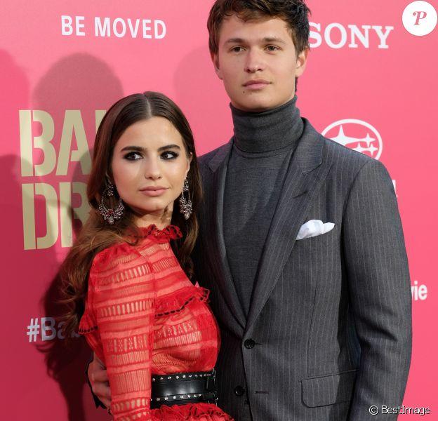 Ansel Elgort et sa compagne Violetta Komyshan - Les célébrités arrivent à la première de 'Baby Driver' à Los Angeles le 14 juin 2017.